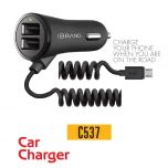 IBrand-Car Charger Spring Type 2 Port USB With Samsung Cable