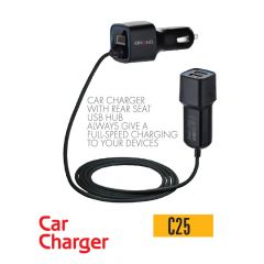 IBrand-Car Charger With Rear Seat USB HUB