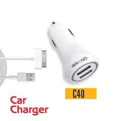 IBrand-Car Charger 2 Port USB With Cable For IPad