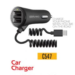 IBrand-Car Charger Spring Type 2 Port USB With Type C Cable