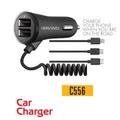 IBrand-Car Charger Spring Type 2 Port USB With 3in 1 Cable