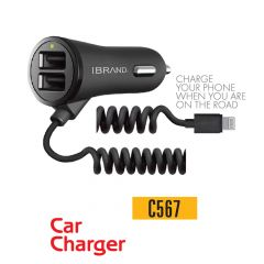 IBrand-Car Charger Spring Type 2 Port USB With IPhone Cable