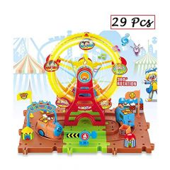 Train Track Toy with Music & Light 360° Rotating for Kids Educational Buildi - SG-8050